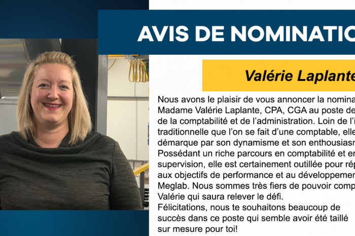 Nomination Valérie Laplante